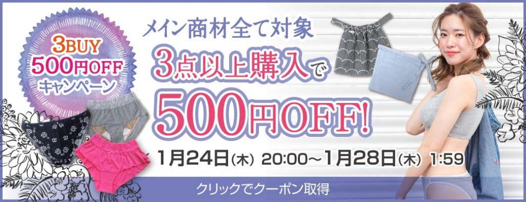 ふんどしパンツの対象商品を3点以上ご購入で500円OFF!